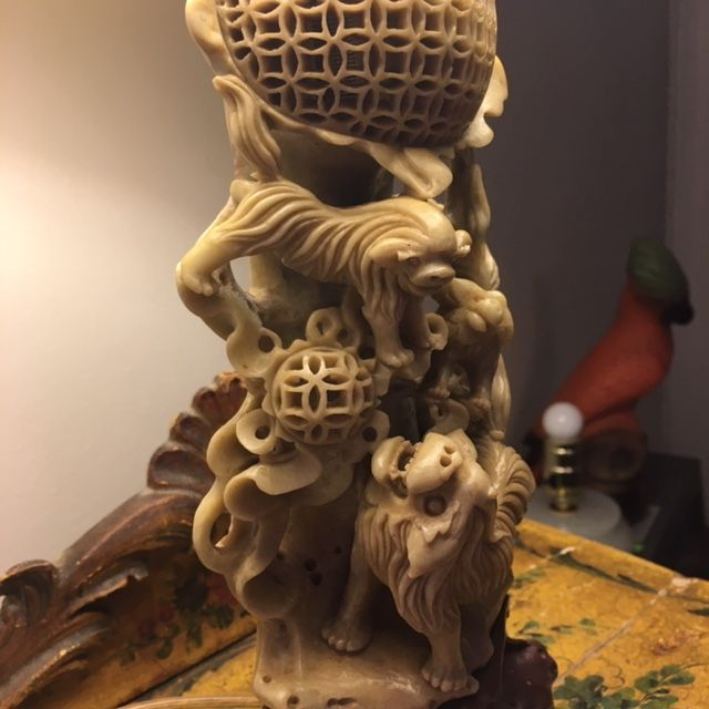 Antique Carved Foo Dog Soapstone Lamp Gaslamp Antiques