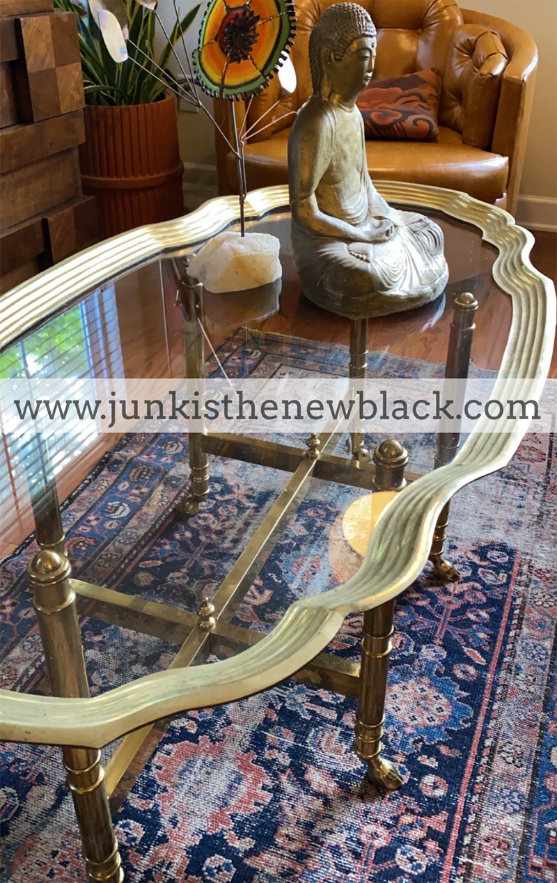Picture of: Mid Century Brass Glass Top Coffee Table Gaslamp Antiques